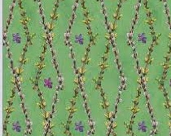 """HUGE SALE Wilmington Prints  by Wendy Edelson  """"So Many Bunnies""""  Floral Lattice  BTY"""
