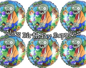 6 Pc Plants vs Zombies Birthday Balloons Party Birthday Supplies