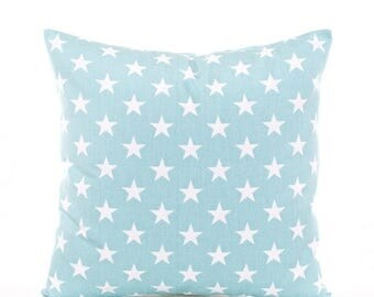 SALE ENDS SOON Star Pillow Cover, Blue Throw Pillows, Light Blue Nursery Pillows, Baby Blue Nursery Decor, Stars, Patriotic, White Stars