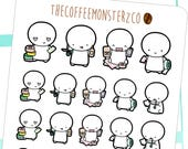 crafting / scrapbooking emotis - hand drawn emoti stickers for your planner E148