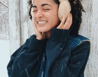 60's authentic shearling adult earmuffs
