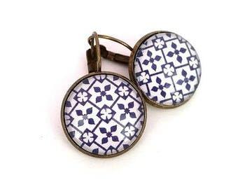 Earrings sleepers - mosaic - blue and white - bronze