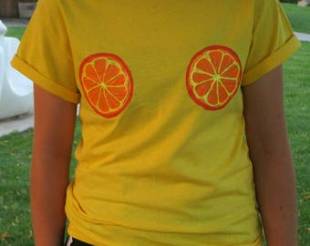 Orange boobs tee shirt hand painted