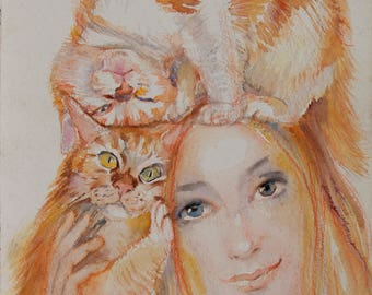 Love-Cat sentiment, Girl and cats, Tenderness,Orange Beauty Cat wall art for home, Artist Artwork, One of a Kind Original Watercolor for Her