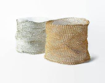Wide bangle bracelet, cuff, gold, silver, crochet bracelet, knitted, woven, handmade, wire mesh, statement bracelet, women jewelry