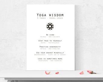 8 limbs of yoga print/ Yoga yamas/ Yoga wall art