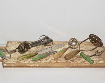 Green Wood Handle utensils,wooden kitchen Utensil,set of 6,food masher,Androck,egg beater,spatula,cork screw,corer,peeler,ice cream scooper,