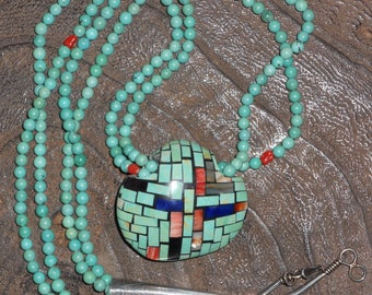 Kewa Santo Domingo Sterling & Turquoise Shell Necklace by Reano Family