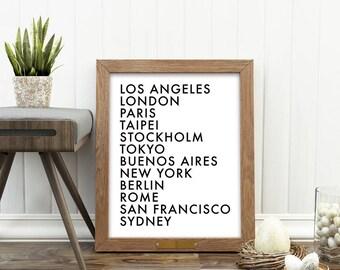 cities of the world print, travel art, typography download, minimalist decor, LA, London, New York, Tokyo, Paris, loft decor, travel poster