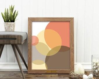 autumn decor, abstract print, instant download art, geometric print, fall wall art, modern printable, bubbles print, circles illustration