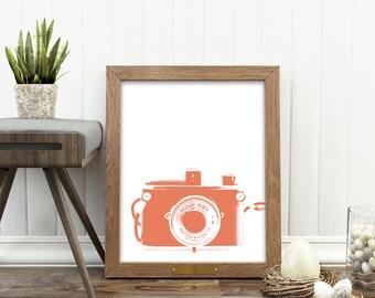 camera print, orange decor, coral print, orange baby nursery art, photography, gift for photographer, instant download, orange camera art