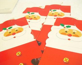 Vintage Santa Claus Card Letter Holder, Christmas Card Holder, Holiday Greeting Card Wall Hanging, Vintage Christmas Decor, Card Display