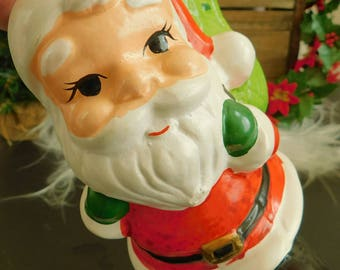 Vintage Ceramic Santa Claus with Green Toy Bag, Vintage Christmas Decor, Candle Holder, Christmas Display, Candy Dish, Keepsake for Child