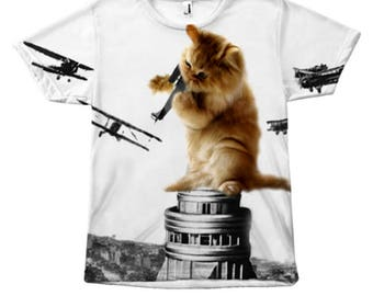 Classic King Kong Scene Cat Kitty Attack Space Galaxy Crazy Airplane