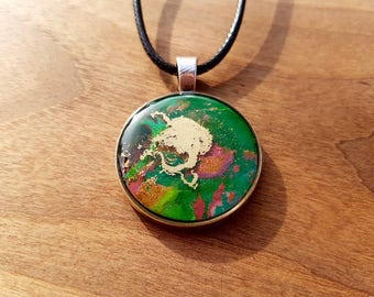 Hand painted necklace, abstract art, watercolour painting, one of a kind jewellery, unique pendant, Christmas gift, vegan, gold
