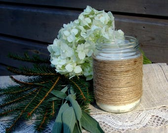 Cinnamon jar candle. Twine candle. Upcycled jar. Cinnamon candle.  Handmade candle. Vegan candle. Winter candle. Cinnamon scent. Organic