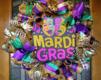 Mardi Gras Wreath, Fat Tuesday Wreath, Mardi Gras Mesh Wreath, New Orleans Wreath
