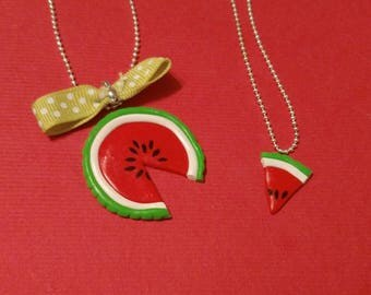 Mother/daughter water melon necklaces