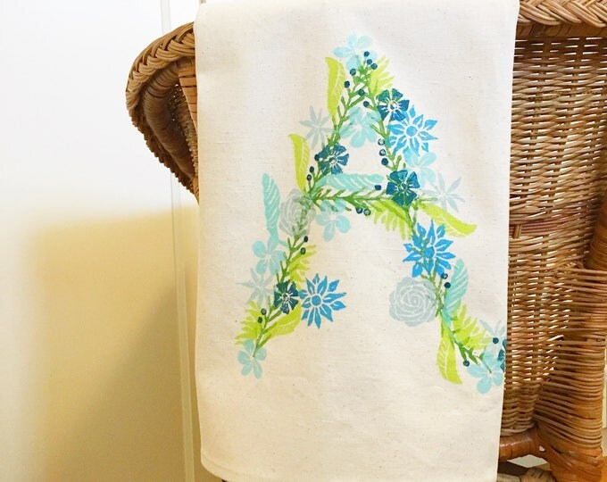 Floral monogram tea towel!  Organic canvas, select letter and colours at checkout