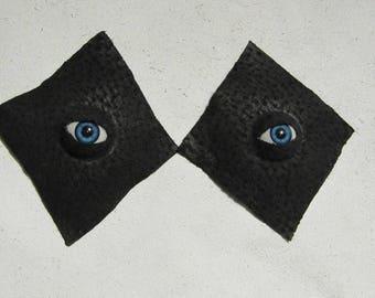Textured Black Leather Eyeball Pasties