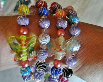 Whirly beads and butterflies! Rosary bracelet
