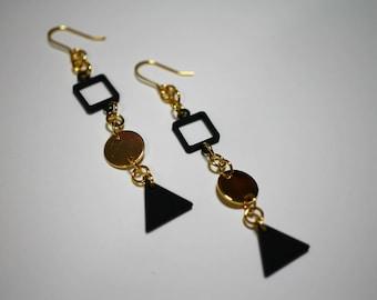 Geometric black and gold earrings