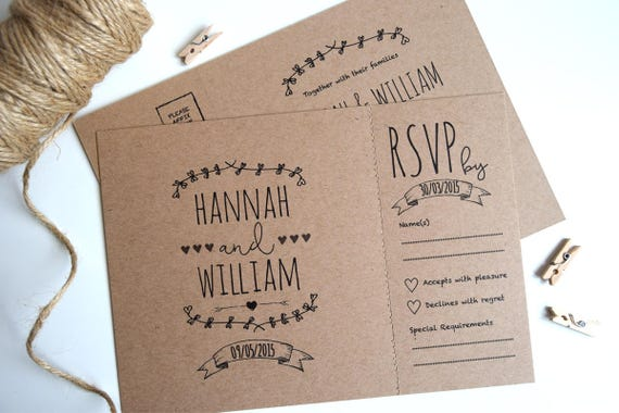 Rustic Kraft Wedding Invitation and Rsvp Postcard Sample