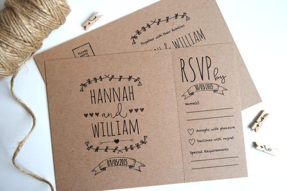 Rustic Kraft Wedding Invitation and Rsvp Postcard (sample)