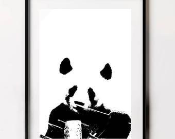 Panda Wall Print, Above Crib Print, Panda Gift, Panda Poster, Panda Print, Black and White Decor
