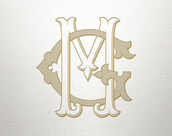 Digital Wedding Monogram - GM MG - Wedding Monogram - Vintage