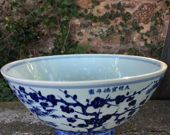 Hand Painted Vintage Chinese Punch Bowl
