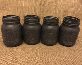 Graphite Distressed Mason Jars
