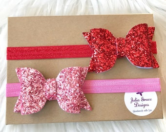 Glitter Bow Headband Set, Red Baby Headband, Pink Headband, Baby Headband, Newborn Headband, Headband, Infant Headband, Toddler Headband