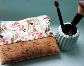 Make-up bag Bambi fairy tale forest OWL Fox Cork