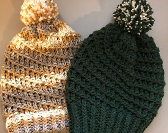 Men's hand knitted slouchy spiral hat, you choose color. Ready to ship