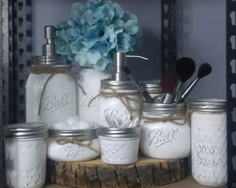 9pc Mason Jar Set - white