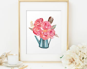 Shabby chic decor, Rustic home decor, Country decor, Watercolor prints, Wall prints, Shabby Chic, Watercolor flower print, Rustic wall decor