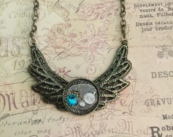 Steampunk Ornate Pendant  Gifts For Her Steampunk Watch Movement Swarovski Crystal Steampunk Jewelry Teal Crystal