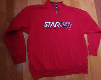 STARTER sweatshirt, red fleece jacket of vintage 90s hip-hop clothing, old school 1990s hip hop hoodie, cotton, OG gangsta rap, size XXL 2XL