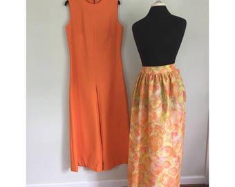Vintage 1960s Orange Wideleg Jumpsuit - 60s 70s Jumpsuit with Matching Over Skirt / Apron - Size Large