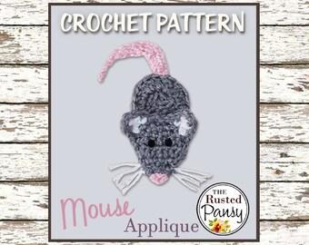017 - Mouse Applique Crochet PATTERN, Instant Download
