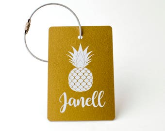 Pineapple Luggage Tag - FREE SHIPPING, Gold and White Luggage Tag, Luggage Tag, Custom Luggage Tag, Custom Gift, Monogram Gift
