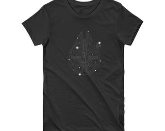 Women's Fitted Constellation T-Shirts From A Galaxy Far Far Away - In Black
