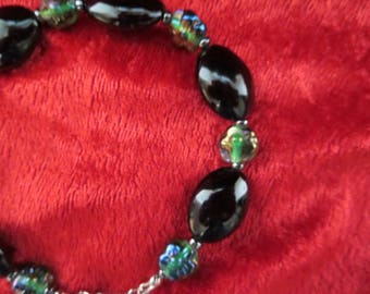 black and green bracelet with onyx and Indian glass beads