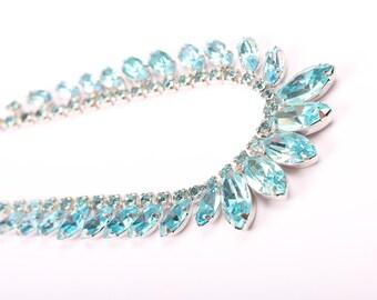 Blue Rhinestone Necklace, Vintage 1950s