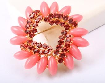 Pink Brooch, Vintage 1960s, With Pink Rhinestones