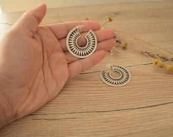 Matte silver tribal dangling SUN earrings, silver hollow crescent moon hoop earrings, Silver Ornate Hoop Drop earrings, gypsy ethnic earring