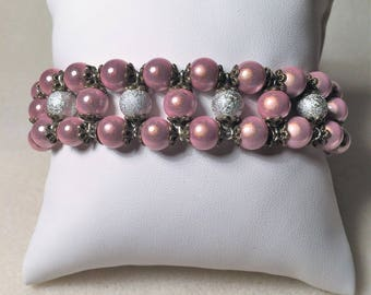 """""""The little Cuff Bracelet with pink and bronze"""""""