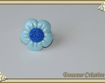 Flower Daisy 102004 blue mother of Pearl ring
