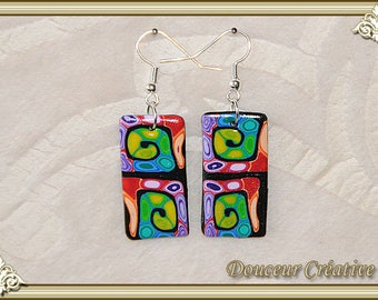 Multicolored rectangles spiral earrings 104062